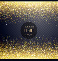 Transparent golden glitter light effect background vector