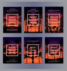 Tropic night posters set vector