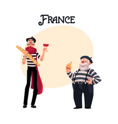 two french mimes young and old with symbols of vector image