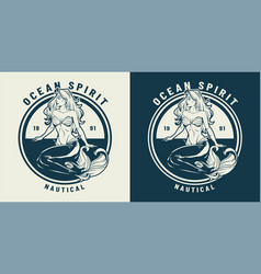 Vintage monochrome nautical emblem vector