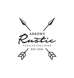 Vintage rustic hipster crossed arrow logo design vector