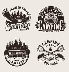 Vintage summer camping emblems vector