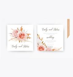 Wedding invite card design blush peach flowers vector