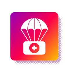 White parachute with first aid kit icon isolated vector