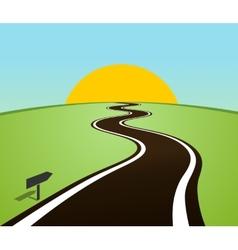 Winding road in field over horizon sun vector