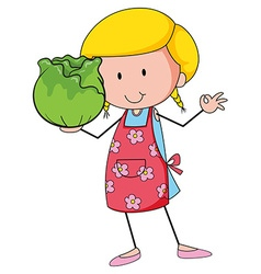 Woman holding head of cabbage vector