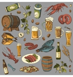 colored beer hand drawing set of sketches vector image vector image