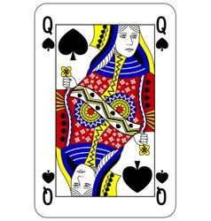 Poker playing card Queen spade vector image vector image
