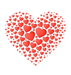 Big red heart from small vector image vector image