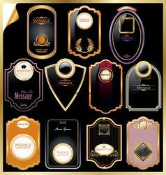 black and gold framed label vector image