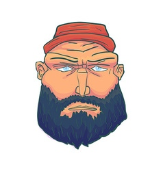 Cartoon Brutal Man Face with Beard and Red Hat vector image vector image