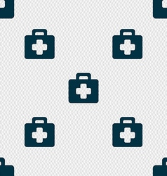 first aid kit icon sign Seamless pattern with vector image vector image