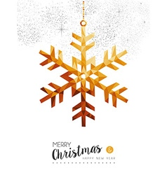 Gold Christmas and new year snow in low poly art vector image