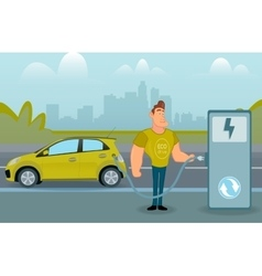 Man charging his electric car at the station vector image