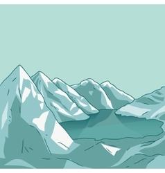Mountain landscape Glacial lake vector image vector image