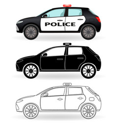 police car colored black silhouette outline vector image