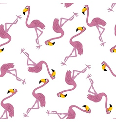Seamless Funny Cartoon Flamingo vector image