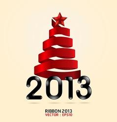 2013 ribbon abstract xmas tree vector image
