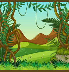 Background scene with field and mountains vector