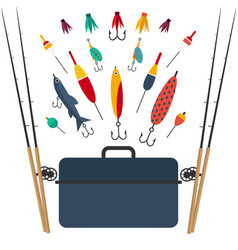 fishing set of accessories for spinning fishing vector image