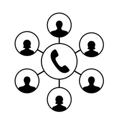 icon of advanced call center an operator callers vector image