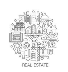 real estate in circle - concept line vector image