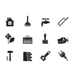 Silhouette construction and do it yourself icons vector image vector image