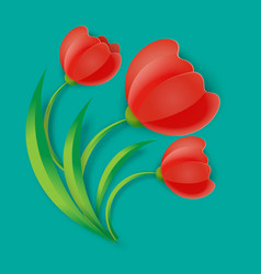 background three red tulip flowers with green vector image vector image
