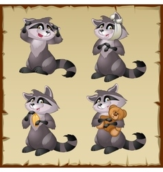 Four cute raccoons on a parchment background vector