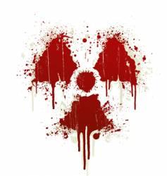 radioactive symbol blood splatter vector image vector image