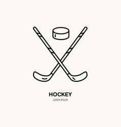 thin line icon of hockey stick and puck vector image