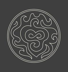 abstract minimalism linear logo art on dark grey vector image