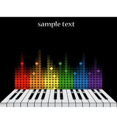 background with piano keys and colorful equalizer vector image