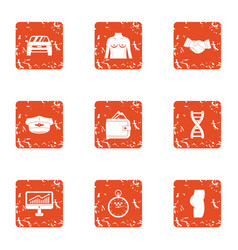 Bargain icons set grunge style vector