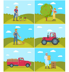 Beekeeper and tractor on field vector
