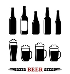 Beer bottle and mug with foam set icon vector