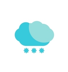 Blue cloud snow colored flat icon vector