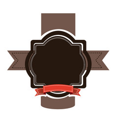 Brown emblem with red ribbon and symbols icon vector