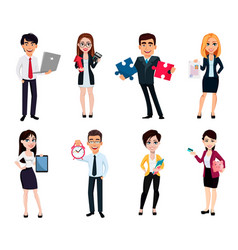 business people set of eight poses vector image
