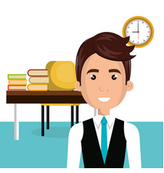 businessman in the library avatar character vector image