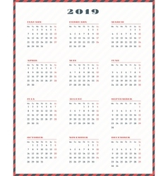 Calendar for 2019 year Week starts Monday vector image