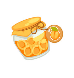 Canned orange apricots or jam in small jar vector