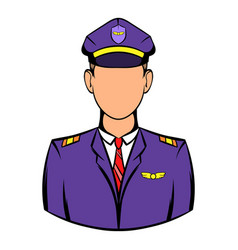 captain of the aircraft icon icon cartoon vector image