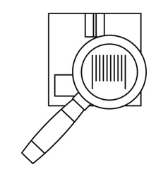 Cardboard box and magnifying glass icon vector