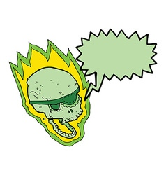 Cartoon flaming pirate skull with speech bubble vector