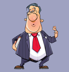 cartoon talking funny man in a suit with a tie vector image