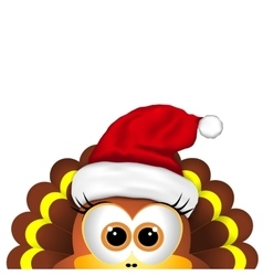Cartoon turkey in Santa hat Card for Christmas vector image