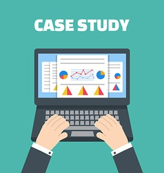 Case study concept with computer device vector