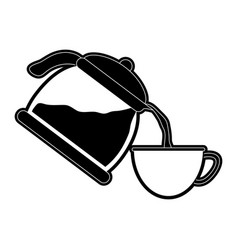 Coffe kettle serving cup vector