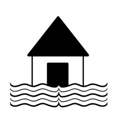 Contour house flood to the water disaster weather vector